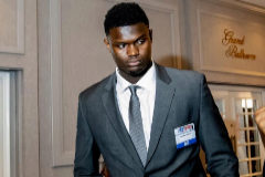 Zion Williamson, a su llegada al hotel de Chicago.