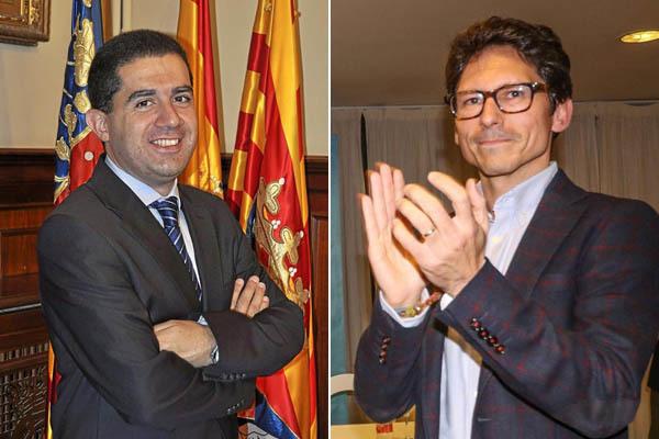 Toni Francés (i) candidato socialista y actual alcalde y Quique Ruiz (d), candidato del PP y ex jefe de informativos de la Cadena Ser en Alcoy