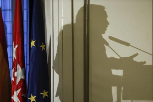 La sombra de Pablo Iglesias, proyectada en un acto celebrado en Madrid el pasado lunes.