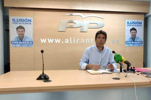 El 'número 2' de la lista del PP de Alicante, Carlos Mazón, este miércoles.