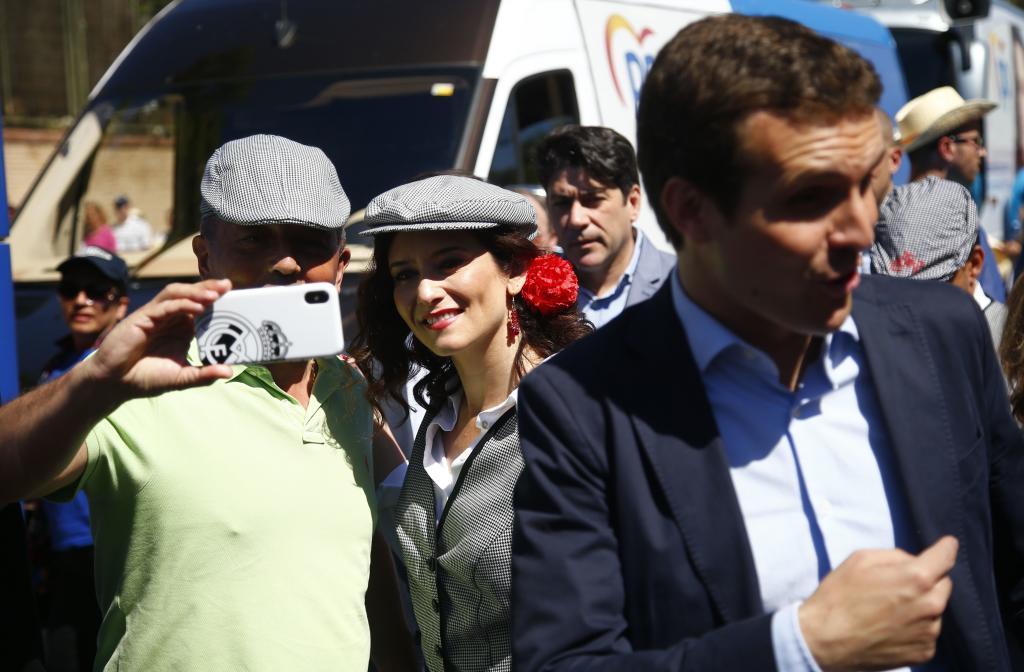 Pablo Casado e Isabel Díaz Ayuso, ayer en la Pradera.