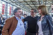 De dcha. a izda. La secretaria general del PSE, Idoia Mendia, interviene en la Fiesta de la Rosa de los socialistas vascos.. Patxi López. Jesús Eguiguren, en 2018.