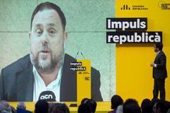 Imagen de Oriol Junqueras, diputado electo de ERC, proyectada en un acto del partido.