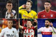 Dybala, Reus, James, Rodrigo, Lozano y Fekir.