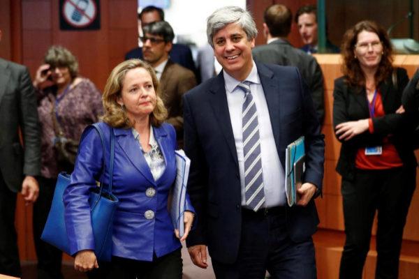 Spain's Economy Minister Calvino and Eurogroup President Centeno...