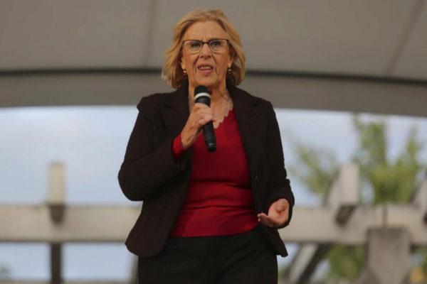 La candidata de Más Madrid, Manuela Carmena, en un acto electoral.