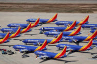 Varios Boeing 737 Max en el aeropuerto de Victorville, en California.