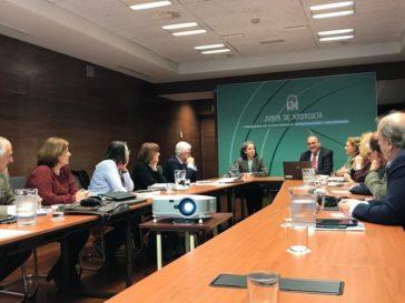 La secretaria general de Universidades, Pilar Ariza (de frente), durante una reunión del foro de consejos sociales.