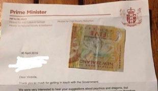 Carta de respuesta de la primera ministra de Nueva Zelanda con el...
