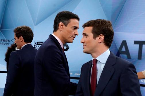 Albert Rivera, Pedro Sánchez y Pablo Casado en el debate preelectoral del 23 de abril.
