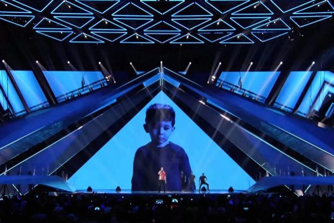 Actuación del italiano Mahmood en la segunda semifinal de Eurovisión...
