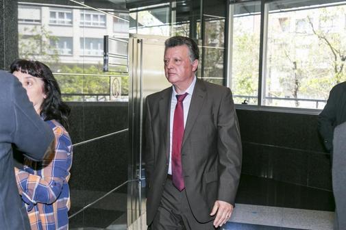 Emilio Titos antes de declarar en la vista oral que se celebró el pasado lunes en el Palacio de Justicia de Vitoria.