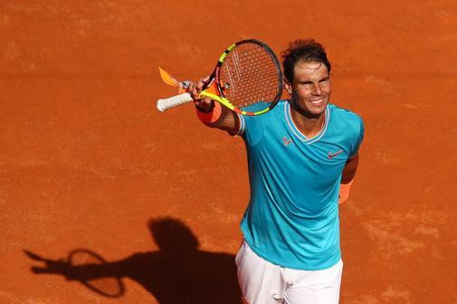Rafa Nadal celebra su victoria ante Fernando Verdasco, este viernes en el Masters 1000 de Roma.