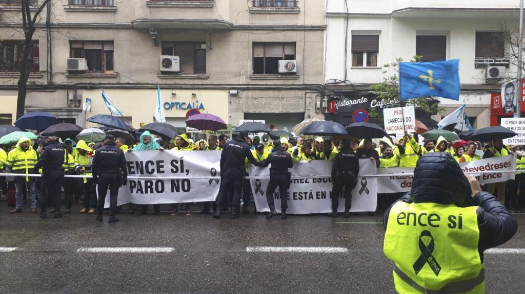 Protestas de los trabajadores de Ence en Madrid.