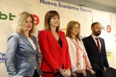 Cristina González, Idoia Mendia, Teresa Laespada y Denis Itxaso.