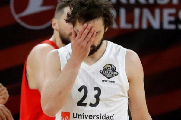 Sergio Llull se lamenta durante el partido ante el CSKA.