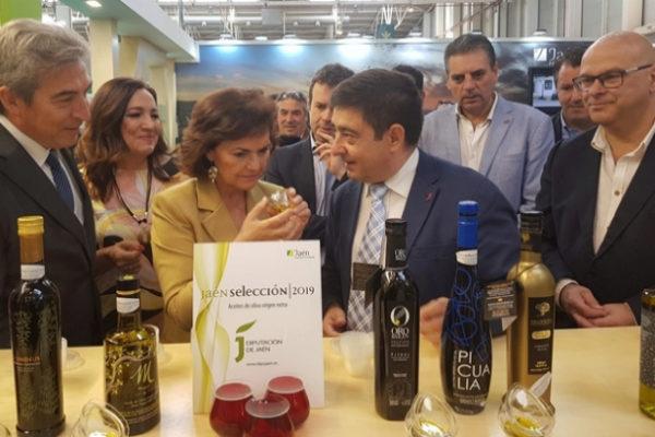 La vicepresidenta Carmen Calvo y el presidente de la Diputación de Jaén Francisco Reyes.