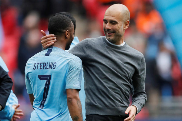FA Cup Final - Manchester <HIT>City</HIT> v Watford Soccer Football - FA Cup Final - Manchester <HIT>City</HIT> v Watford - Wembley Stadium, London, Britain - May 18, 2019 Manchester <HIT>City</HIT> manager Pep Guardiola and Manchester <HIT>City</HIT>'s Raheem Sterling celebrate winning the FA Cup REUTERS/David Klein