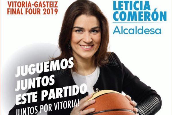Cartel promocional de Leticia Comerón en plena 'Final Four' de la Euroliga de Baloncesto.