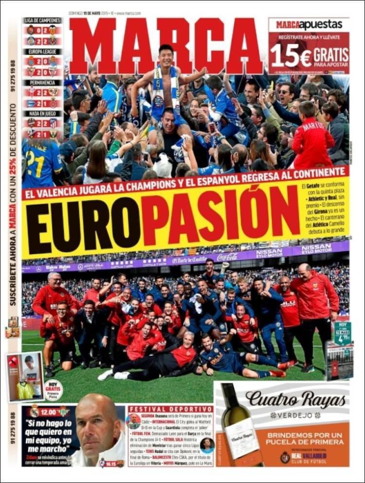 Las portadas de los diarios deportivos (19/05/19)