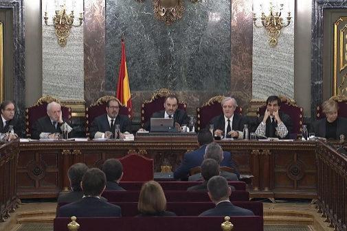 Tribunal del 1-O durante una de las sesiones del juicio en el Supremo