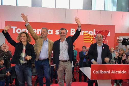 Meritxell Batet, el candidato a la Alcaldía de Barcelona, Jaume Collboni, Manuel Cruz y Miquel Iceta