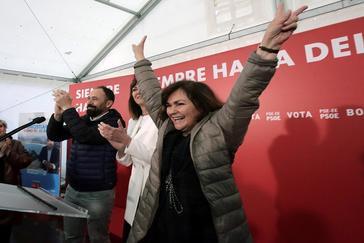 Carmen calvo en el acto de los socialistas en San Sebastián