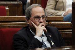 El president catalán, en el Parlament.