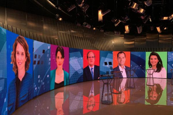 La imagen de los cinco candidatos, en Telemadrid.