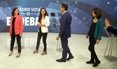 Díaz Ayuso, Rocío Monasterio, Ignacio Aguado e Isa Serra, antes del debate.