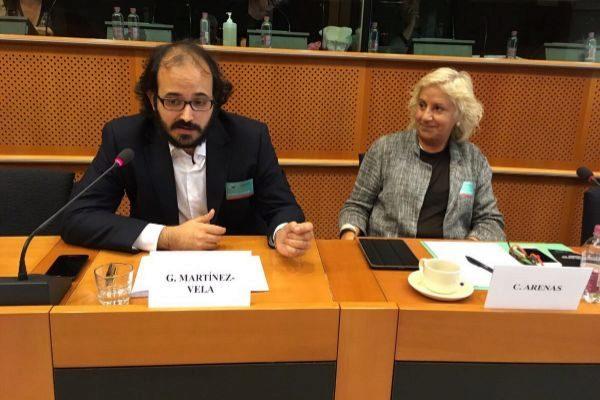 Carme Arenas, ex presidenta del PEN Club catalán, en el Parlamento Europeo