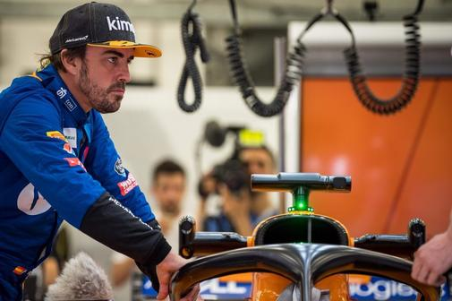 Alonso, durante la clasificación en Indianápolis.