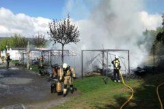 Los bomberos intervienen en el incendio de Pobes.
