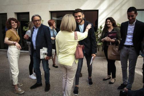 Los negociadores de Unides Podem, PSPV y Compromís, el lunes en la reunión celebrada en el Colegio Mayor Rector Peset. BIEL ALIÑO