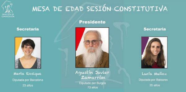 La Mesa de Edad en la sesión constitutiva de las Cortes.