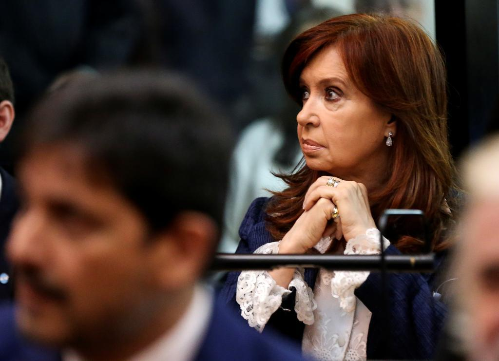 Former Argentine President Cristina Fernandez de <HIT>Kirchner</HIT> looks on in a court room before the start of a corruption trial, in Buenos Aires