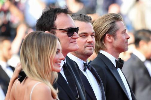 Margot Robbie, Quentin Tarantino, Leonardo DiCaprio y Brad Pitt en la presentación de 'Érase una vez en Hollywood'.