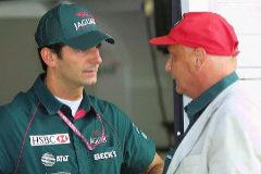 De la Rosa y Lauda, en la etapa del piloto español en Jaguar.