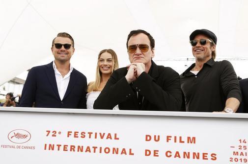 Leonardo DiCaprio, Margot Robbie, Quentin Tarantino y Brad Pitt en la presentación de 'Érase una vez en Hollywood'.