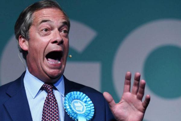 Nigel Farage, líder del Partido del Brexit, en un evento de campaña, en Londres.