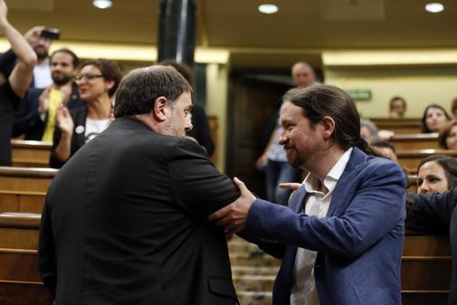 Pablo Iglesias y Oriol Junqueras, esta semana en el Congreso.