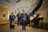 Cinco de los integrantes del mariachi Arcoiris, en el interior de la Embajada de EEUU en Madrid.
