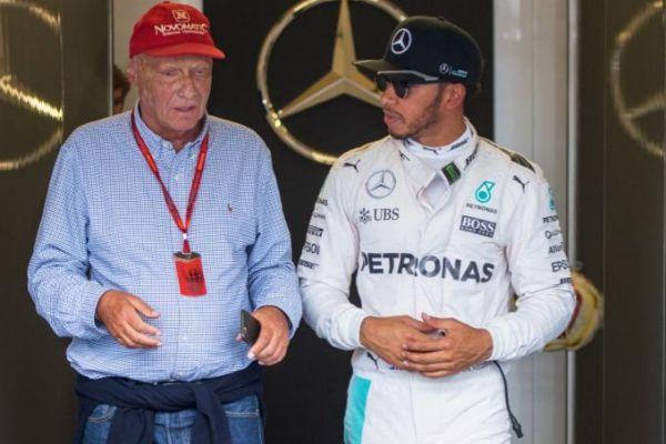 Lauda y Hamilton, durante el GP de Austria de 2016.