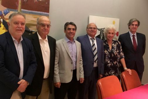 Manuel Ángel Fernández, Luis Gordillo, Victorino Martín, Rogelio Pérez Cano, Pilar Linares y Fernando Gomá.