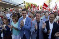 Susana Díaz, Pedro Sánchez y Juan Espadas, este miércoles, en Sevilla.