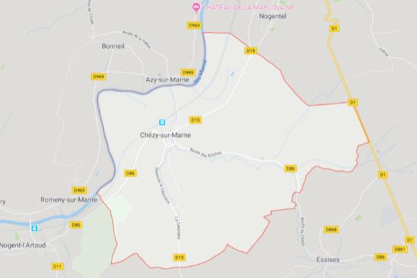 Chézy-sur-Marne,  donde se ubica la residencia en la que ha tenido lugar el suceso.