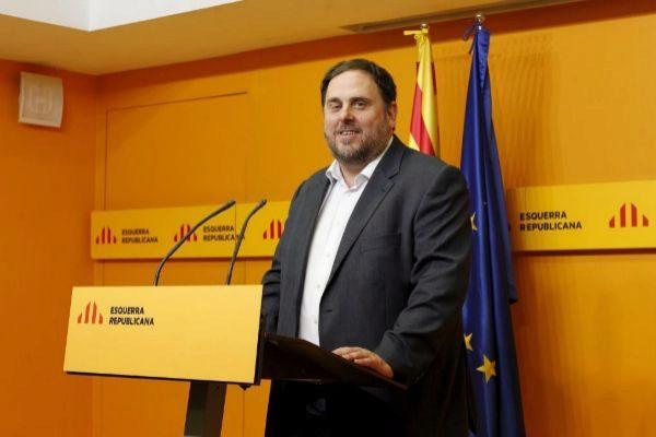 El líder de ERC Oriol Junqueras en la sede del partido en Barcelona, en una imagen de archivo.