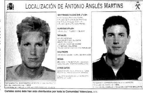Uno de los carteles que la Guardia Civil distribuyó por la Comunidad Valenciana para localizar a Antonio Anglés.