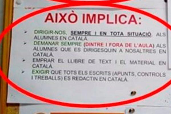 Cartel que muestra la imposición del catalán.