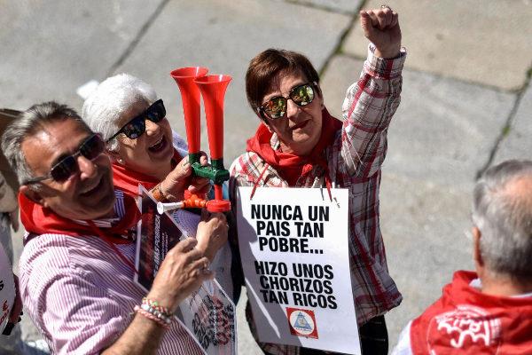 Pensionistas durante una manifestación de los lunes en Bilbao.